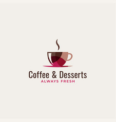 coffee cup logo art and desserts vector image
