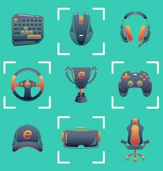 Color esports icons set game tournament vector