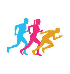 colorful silhouettes of running men and woman vector image