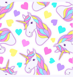colorful unicorns and hearts vector image