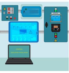 control ventilation installation vector image