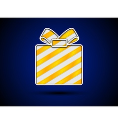 Cut out gift box with golden ribbons vector image