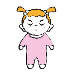 Cute baby girl with hairstyle and clothes vector