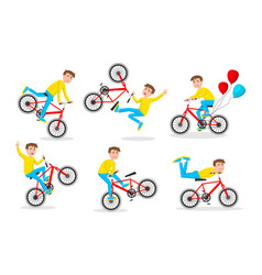 cute little boy riding bicycle on white vector image