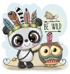 Cute tribal panda and owl with feathers vector