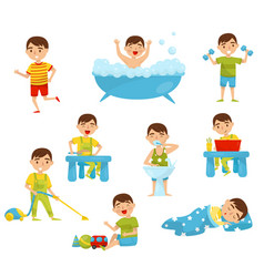 Daily routine of cute boy set kids activity boy vector