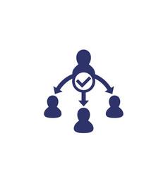 Delegate task delegation icon on white vector