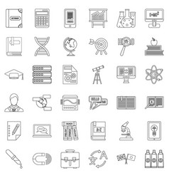 Dictionary icons set outline style vector