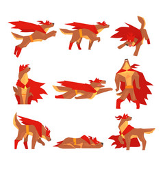 Dog superhero character set dog in different vector