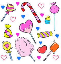 Doodle of various candy colorful cartoon style vector