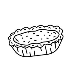 egg tart icon doodle hand drawn or black outline vector image