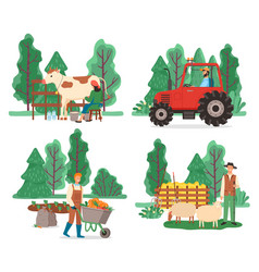 farming people animals and equipment set vector image