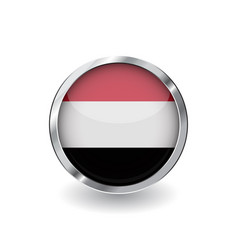 flag of yemen button with metal frame and shadow vector image
