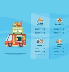 Food truck menu urban fast food restaurant street vector