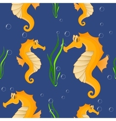 Funny sea horse Seamless background vector image