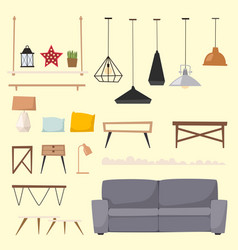furniture room interior design apartment home vector image