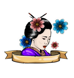 Geisha among blooming flowers vector