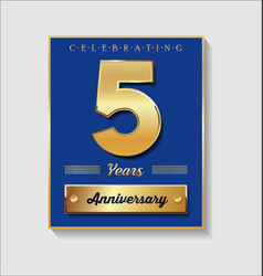 Gold and blue anniversary banner collection 5 vector