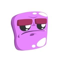 Grumpy Violet Emoji Cartoon Square Funny Emotional vector