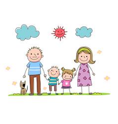 hand-drawn cartoon family vector image