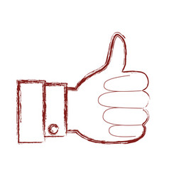 hand thumb up icon in dark red blurred silhouette vector image