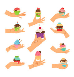 hands holding decorated cupcakes set vector image