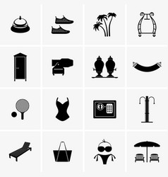 hotel resort spa vacation accessories and objects vector image