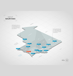 isometric mauritania map with city names and vector image