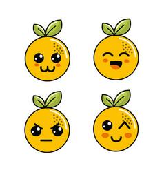 Kawaii orange diferents faces icon vector