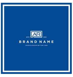 Letter ar rectangle logo design vector