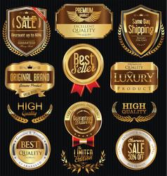 Luxury golden retro labels collection 2 vector