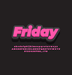 Modern 3d pink black font effect or text effect vector
