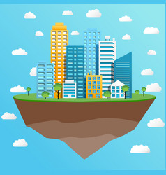 modern city on flying island concept vector image