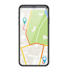 modern smartphone with map and marker vector image