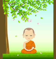 Monk buddhism meditation sit down on grass vector