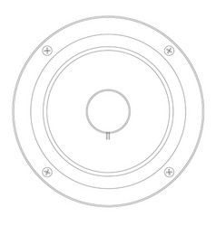 Musical amplifier speaker in outline vector