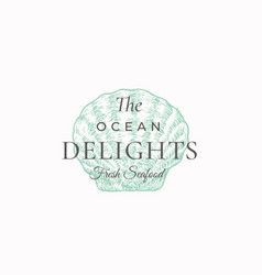 ocean delights seafood abstract sign vector image