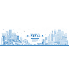outline welcome to australia skyline with blue vector image
