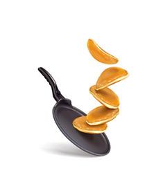 Pancake splash on frying pan vector