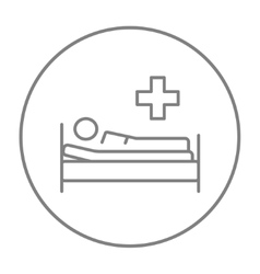 Patient lying on bed line icon vector image