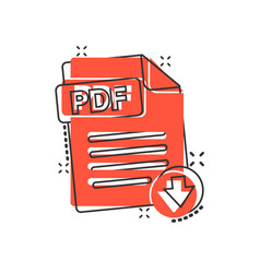pdf icon in comic style document text cartoon on vector image