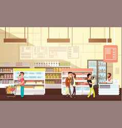 People shopping in grocery store supermarket vector