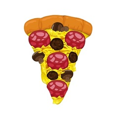 Pepperoni and meatballs on Pizza Slice vector image