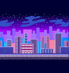 Pixel art night city seamless background detailed vector