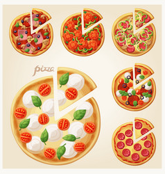 Pizza top view set italian pizza with slices vector