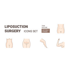 plastic surgery fat body liposuction treatment vector image