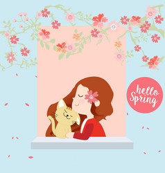 Red hood girl and happy cat in the spring town vector