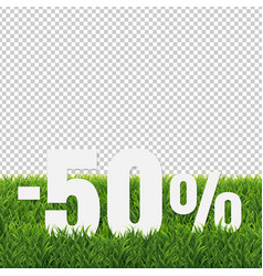 Sale text with green grass transparent background vector