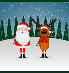 santa claus and funny reindeer in a winter forest vector image