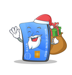 Santa credit card character cartoon with gift vector